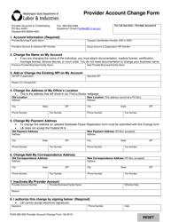 "Form F245-365-000 ""Provider Account Change Form"" - Washington"