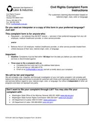 "Form F270-001-000 ""Civil Rights Complaint Form"" - Washington"