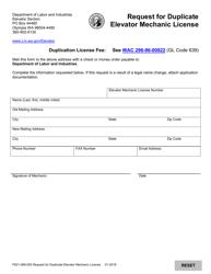 "Form F621-099-000 ""Request for Duplicate Elevator Mechanic License"" - Washington"