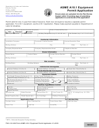 "Form F621-121-000 ""Asme A18.1 Equipment Permit Application"" - Washington"
