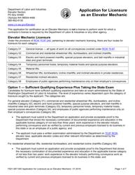 "Form F621-067-000 ""Application for Licensure as an Elevator Mechanic"" - Washington"