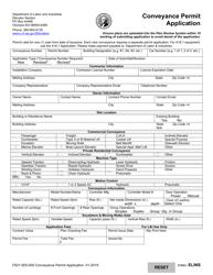 "Form F621-005-000 ""Conveyance Permit Application"" - Washington"