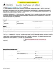 """Form DLR-430-501 """"Bona Fide Used Vehicle Sale Affidavit"""" - Washington"""