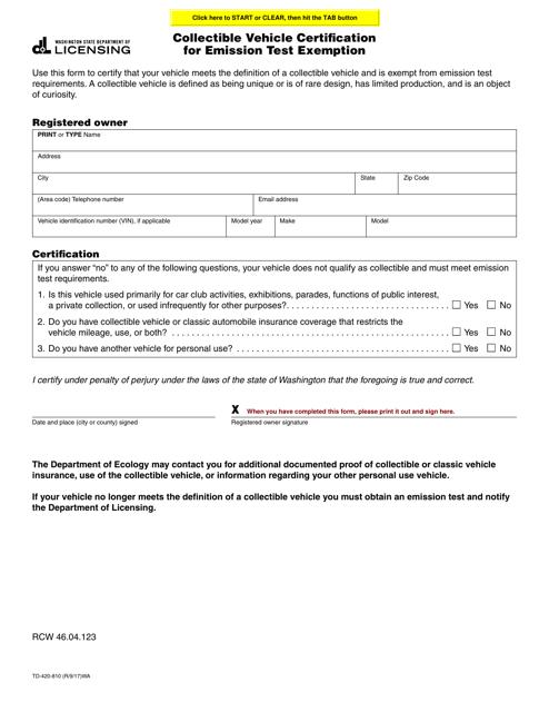 Form TD-420-810  Printable Pdf