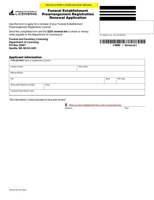 Form FDE-653-023 Fillable Pdf