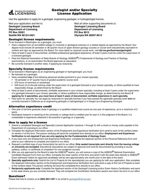 Form GEO-637-001  Printable Pdf