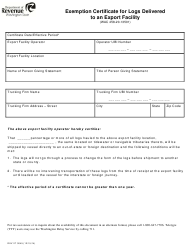 "Form REV27 0045 ""Exemption Certificate for Logs Delivered to an Export Facility"" - Washington"