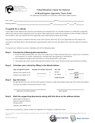 "Form REV82 2113 ""Tribal Member Claim for Refund of Washington Cigarette Taxes Paid"" - Washington"