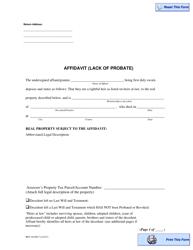 "Form REV84 0017 ""Affidavit (Lack of Probate)"" - Washington"
