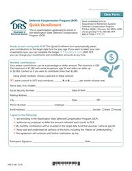 """Form DRS D445 """"Deferred Compensation Program (Dcp) Quick Enrollment"""" - Washington"""