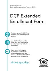 """Form DRS D112 """"Dcp Extended Enrollment Form"""" - Washington"""