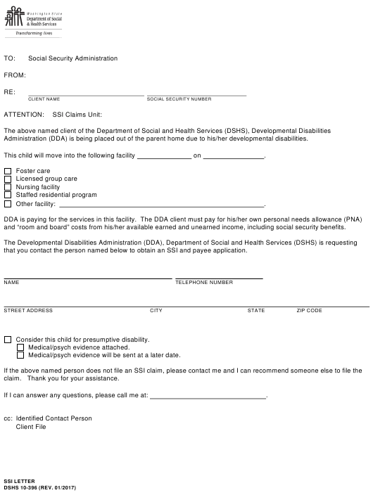 photo regarding Social Security Disability Application Form Printable identify Type DSHS 10-396 Down load Printable PDF, Ssi Letter