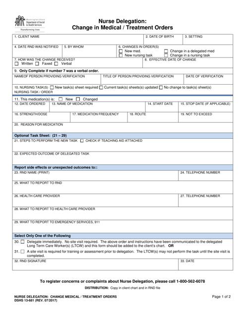 Dshs Form 13 681 Download Printable Pdf Or Fill Online Nurse Delegation Change In Medical Treatment Orders Washington Templateroller