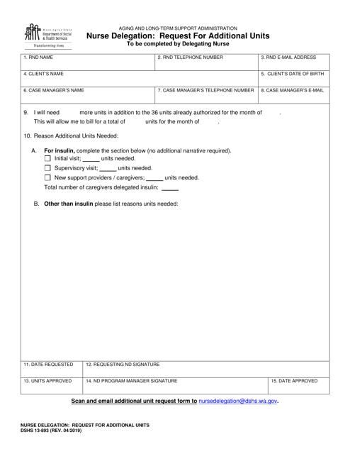 Dshs Form 13 893 Download Printable Pdf Or Fill Online Nurse Delegation Request For Additional Units Washington Templateroller