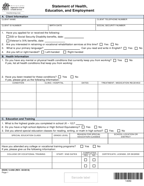 DSHS Form 14-050  Printable Pdf