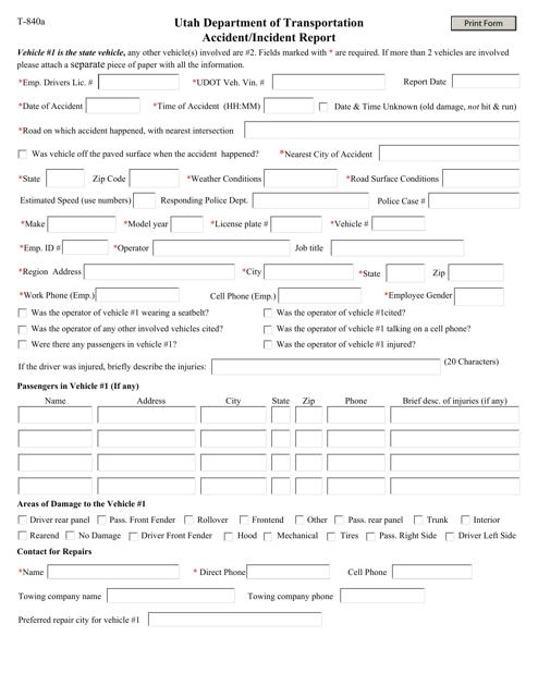 Form T-840A  Printable Pdf