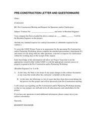"""Pre-construction Letter and Questionnaire"" - Utah"