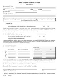 """Form PT1292 """"Application for Ag Status"""" - South Dakota"""