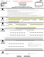 "SD Form 1794 ""Application for Personalized License Plate"" - South Dakota"