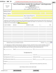 "SD Form 0869 ""Alcoholic Beverage Brand - Label Registration Application"" - South Dakota"