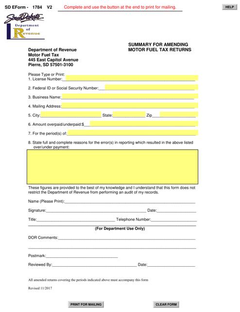Form 1784  Printable Pdf