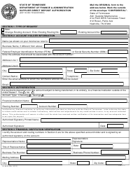 """Form FA-0825 """"Supplier Direct Deposit Authorization (Not Wire Transfers)"""" - Tennessee"""
