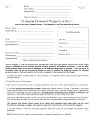 Form ADV-40 Business Personal Property Return - Alabama