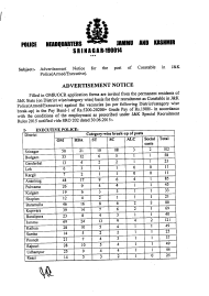 """Advertisement Notice - Jammu and Kashmir Police Headquarters (Srinagar-190014)"" - Jammu and Kashmir, India"