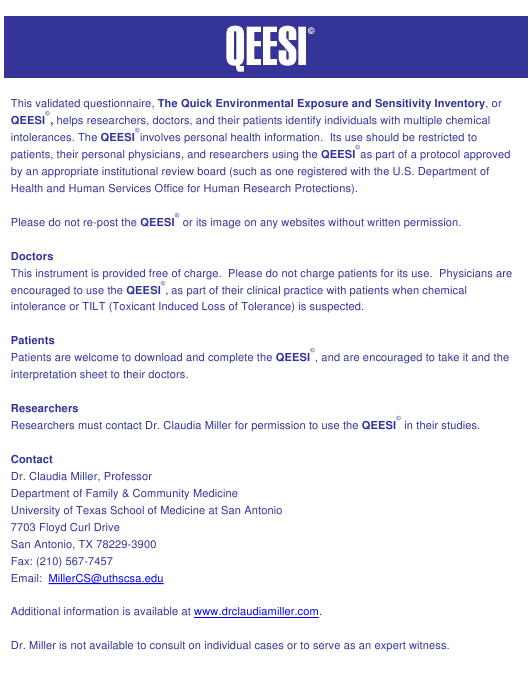 """Quick Environmental Exposure Sensitivity Inventory (Qeesi) - University of Texas Health Science Center at San Antonio"" - Texas Download Pdf"