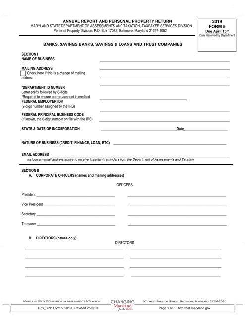 Form 5 2019 Printable Pdf