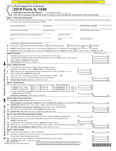 Form IL-1040 2018 Fillable Pdf