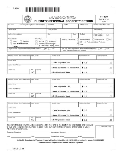 Form PT-100  Printable Pdf