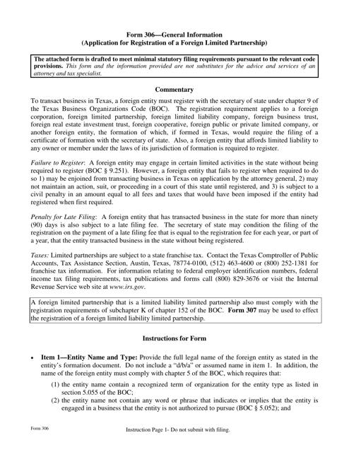 Form 306  Printable Pdf