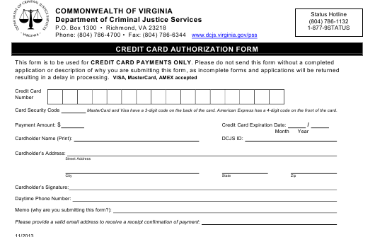 """""""Credit Card Authorization Form"""" - Virginia Download Pdf"""