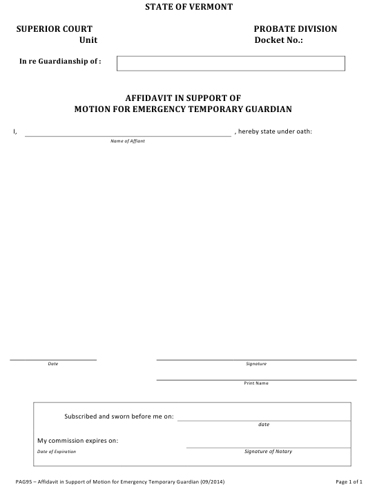 Form PAG95  Printable Pdf