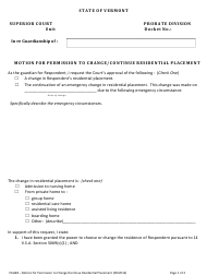 "Form PAG98 ""Motion for Permission to Change/Continue Residential Placement"" - Vermont"