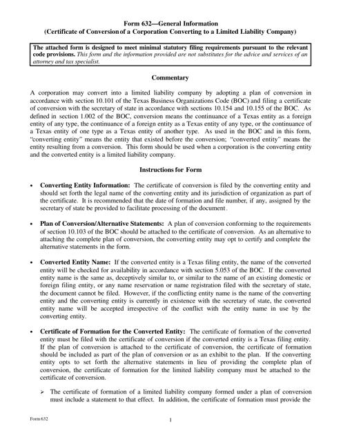 Form 632  Printable Pdf