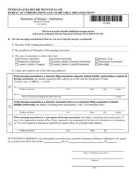 "Form DSCB:15-335AD ""Statement of Merger - Addendum"" - Pennsylvania"