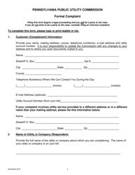 """Formal Complaint Form"" - Pennsylvania"