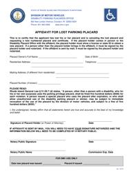 """Affidavit for Lost Parking Placard"" - Rhode Island"