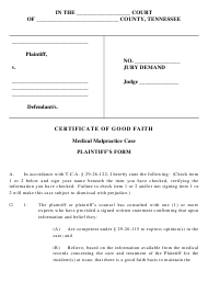 """Certificate of Good Faith in Medical Malpractice Case - Plaintiff's Form"" - Tennessee"