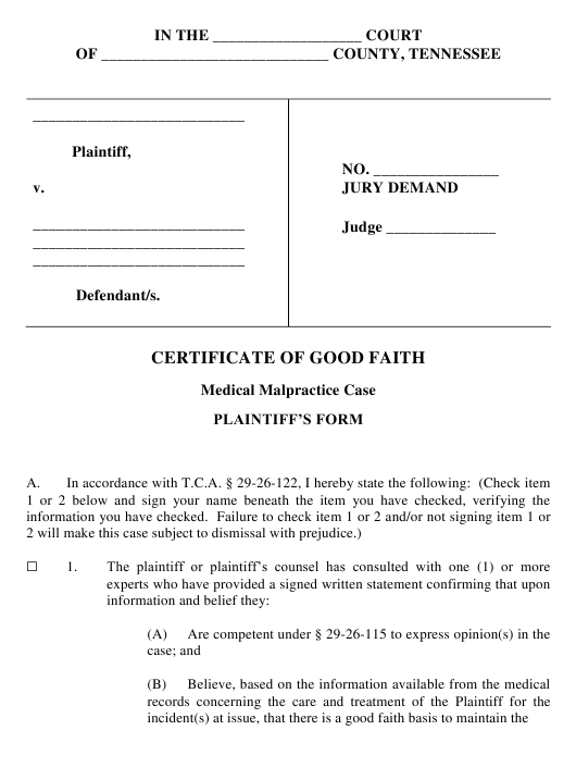 """""""Certificate of Good Faith in Medical Malpractice Case - Plaintiff's Form"""" - Tennessee Download Pdf"""