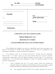 """Certificate of Good Faith in Medical Malpractice Case - Defendant's Form"" - Tennessee"