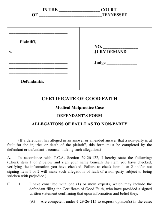 """""""Certificate of Good Faith in Medical Malpractice Case - Defendant's Form"""" - Tennessee Download Pdf"""