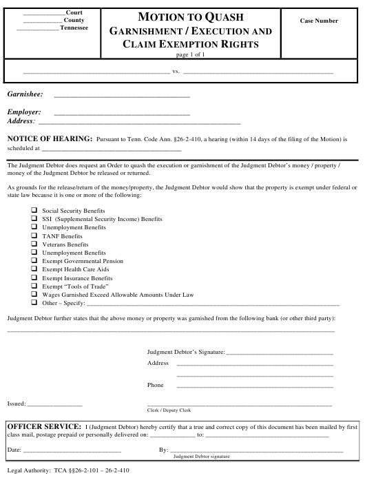 """""""Motion to Quash Garnishment/Execution and Claim Exemption Rights"""" - Tennessee Download Pdf"""