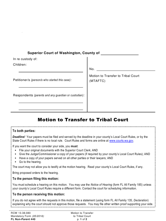 Form FL Non-Parent440  Printable Pdf