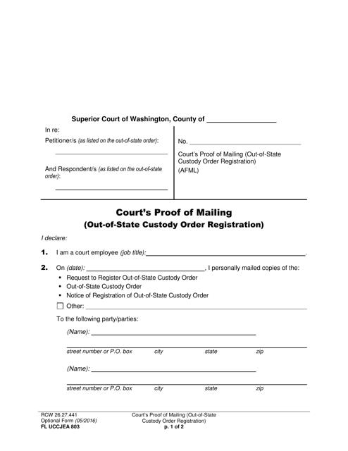 Form FL UCCJEA803  Printable Pdf