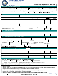 "Form TR-2 (TR-9) ""Application for Title"" - Rhode Island"