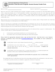 "Form HS-3194 ""Summer Food Service Program Income Excess Funds Form"" - Tennessee"