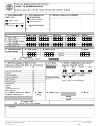 "Form HS-3083 ""Claim for Reimbursement Child and Adult Care Food Program (Homes Only)"" - Tennessee"